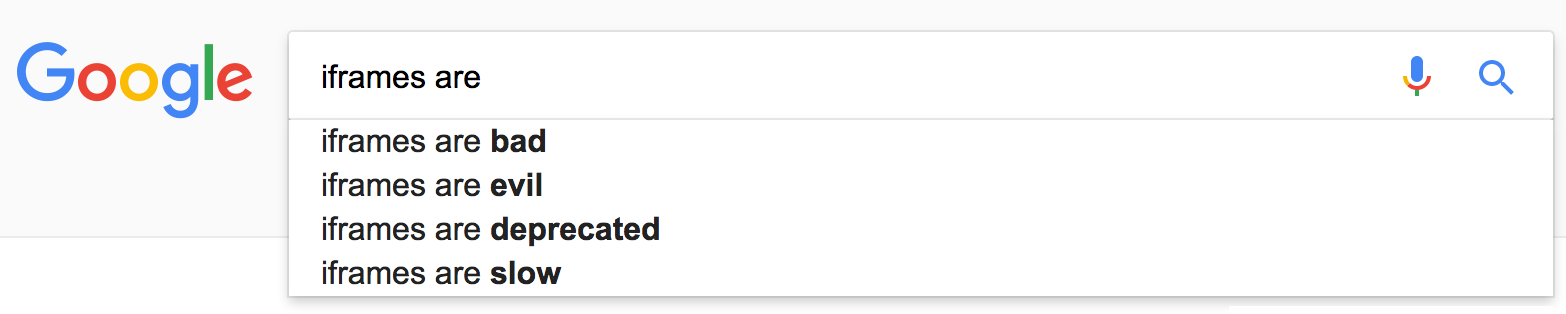 google search suggestions for 'iframes are'