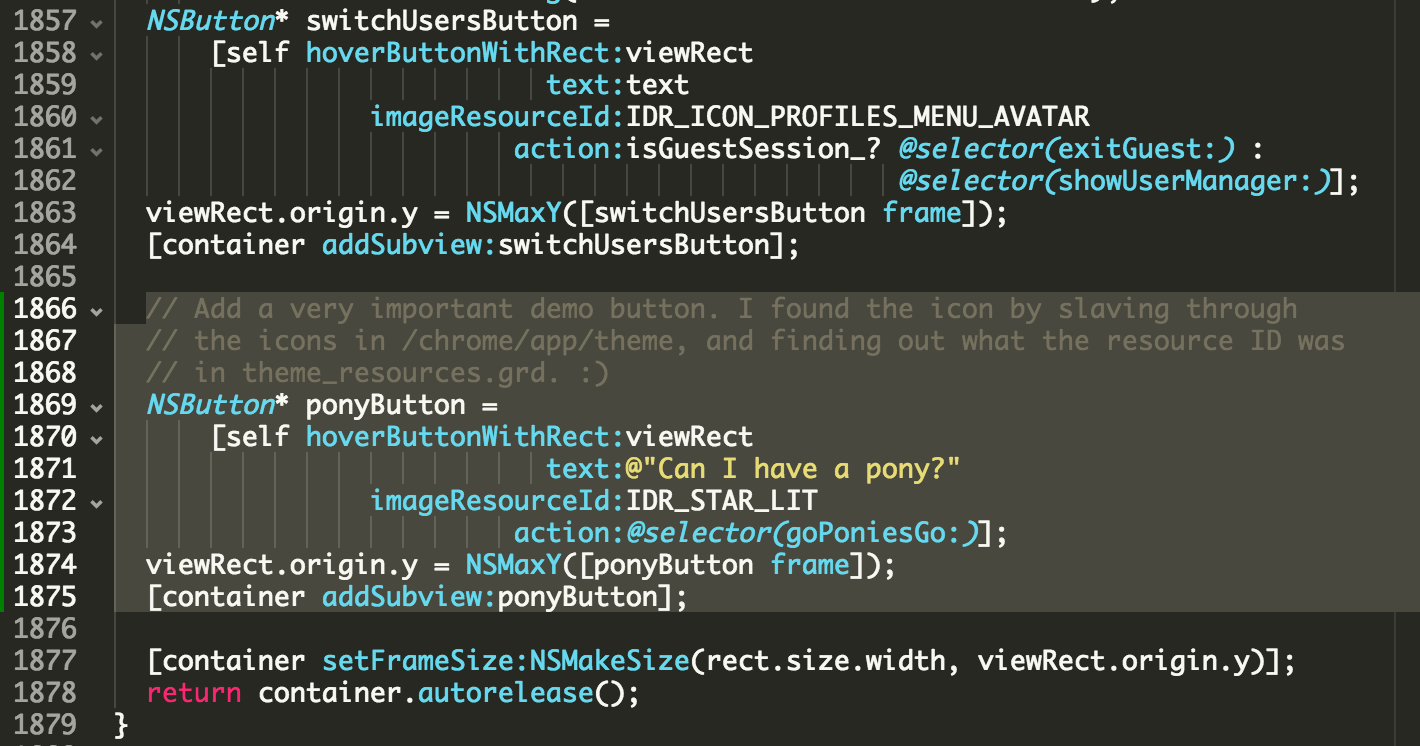 Code showing how to instantiate a pony button